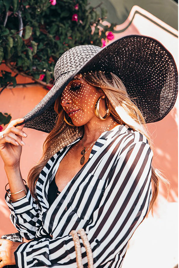 Floppy Straw Hat - Black