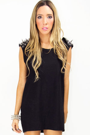 JACK SPIKE SHOULDER TUNIC - Black (Final Sale) - Haute & Rebellious