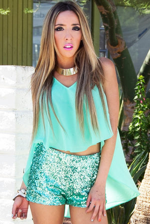 MINT SEQUIN SHORTS - Haute & Rebellious