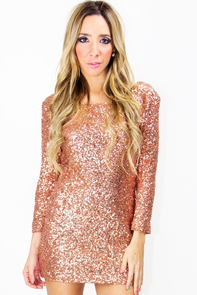 CHLOE 3/4 SEQUIN DRESS - Gold Rose