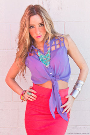 CUTOUT CHIFFON CROPPED TOP - Haute & Rebellious