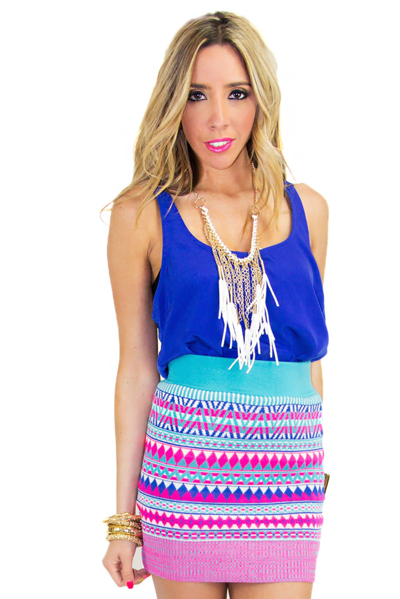 TRIBAL PRINT SKIRT  - Neon Pink - Haute & Rebellious