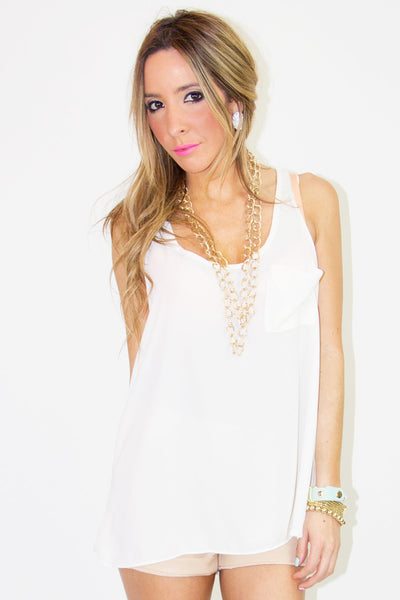 ONE POCKET TANK TOP WITH BACK RUFFLE - Haute & Rebellious