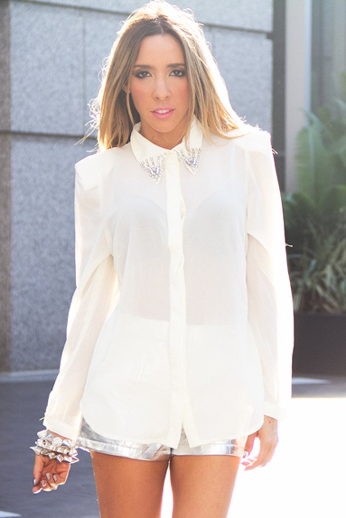 EMBELLISHED CHIFFON BLOUSE WITH SHOULDER PADS - White - Haute & Rebellious