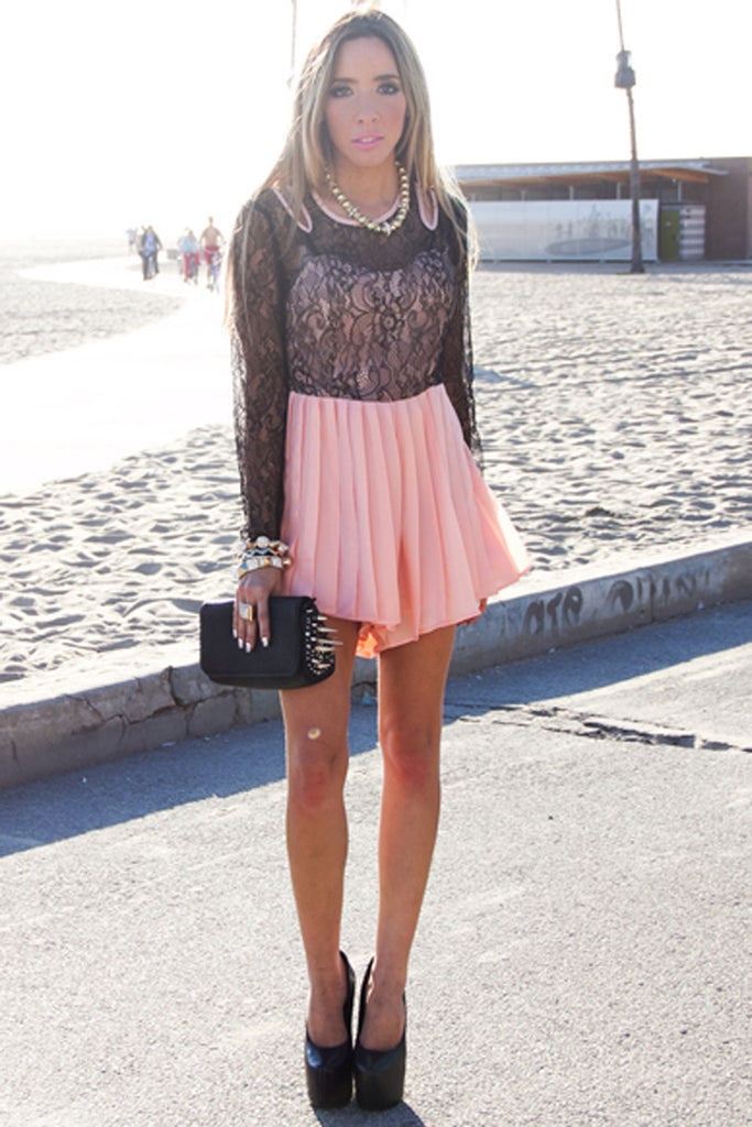 OLIVIA LACE JUMPER - Light Coral