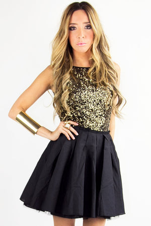 GOLD SEQUIN FULL A LINED SKIRT DRESS - Black/Gold - Haute & Rebellious