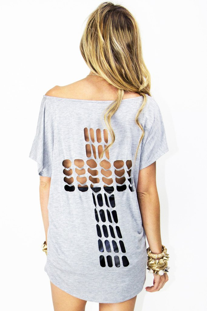 CUTOUT CROSS JERSEY TEE - Heather Gray