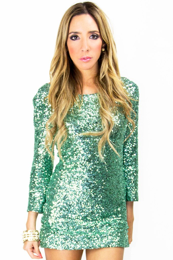 CHLOE 3/4 SEQUIN DRESS - Mint Green