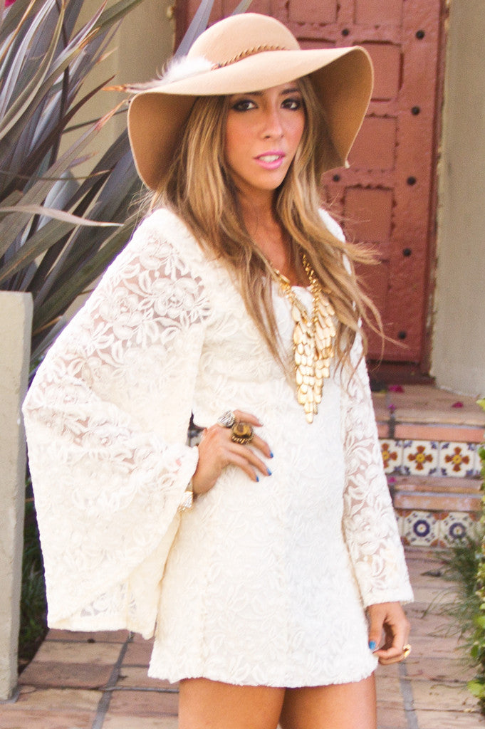 OVERSIZED BELL SLEEVE LACE DRESS