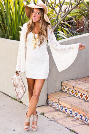 OVERSIZED BELL SLEEVE LACE DRESS - Haute & Rebellious