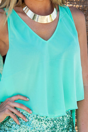 HIGH LOW MINT CHIFFON BLOUSE - Haute & Rebellious