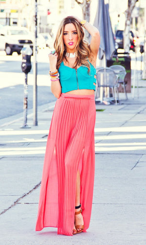 DOUBLE SLIT CHIFFON SKIRT - Haute & Rebellious