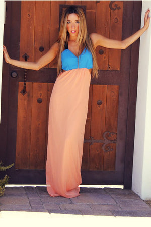CUTOUT MAXI DRESS - Blue/Light Peach - Haute & Rebellious