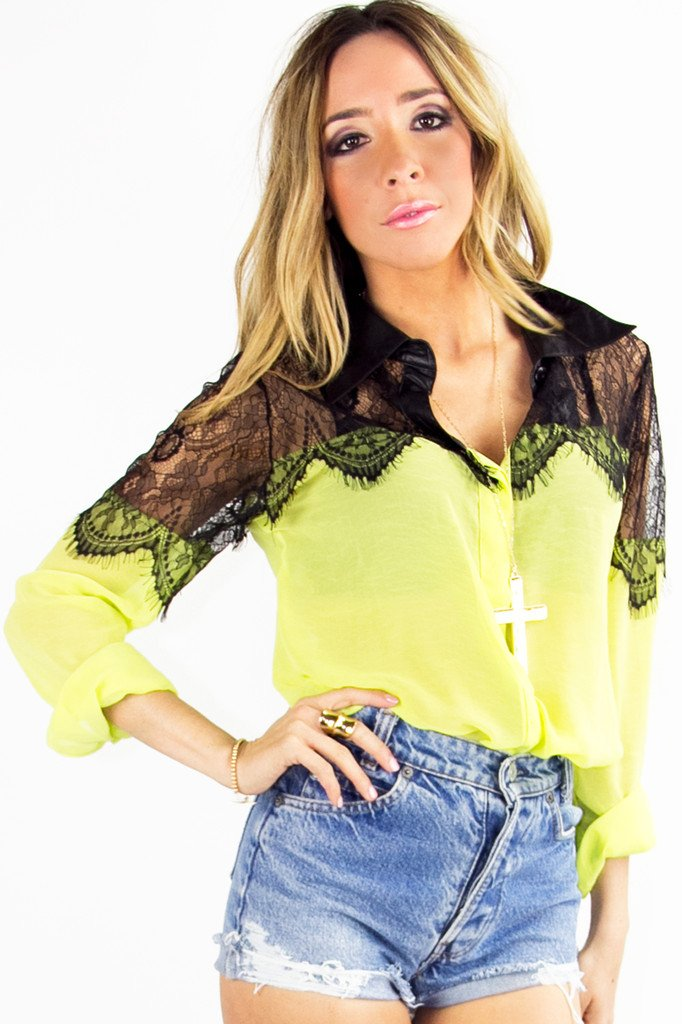 NEON LACE BLOUSE - Highlighter Green