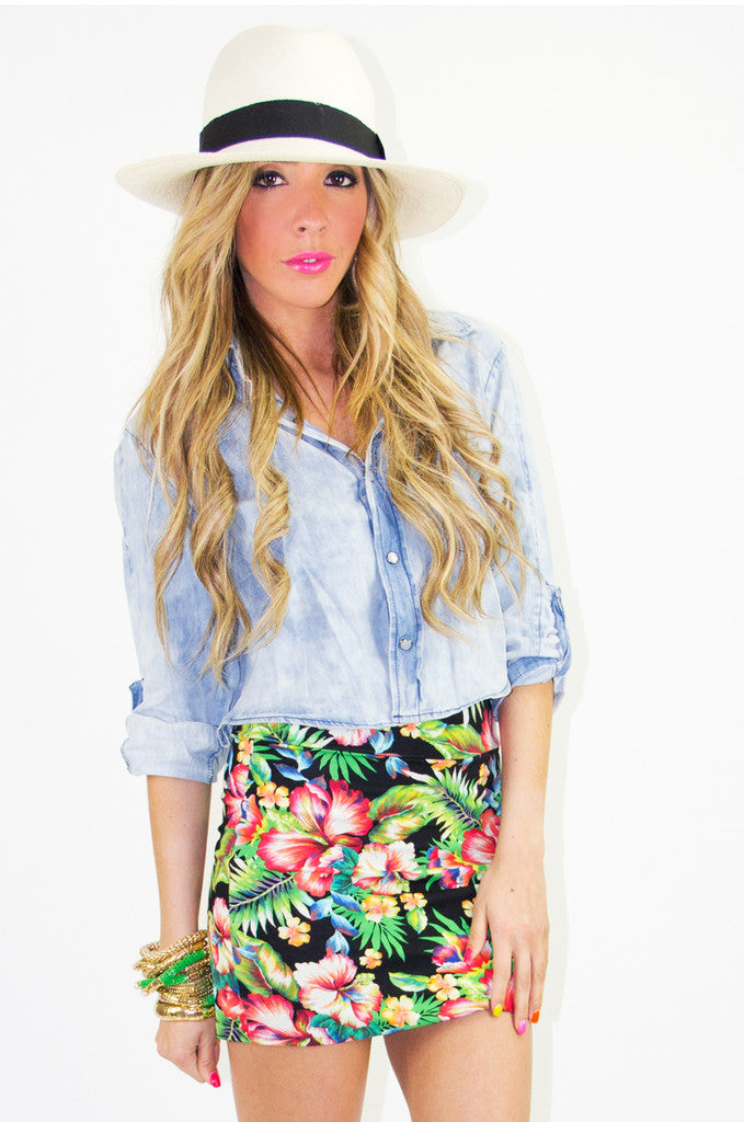 TROPICAL FLOWER SKIRT (Final Sale)