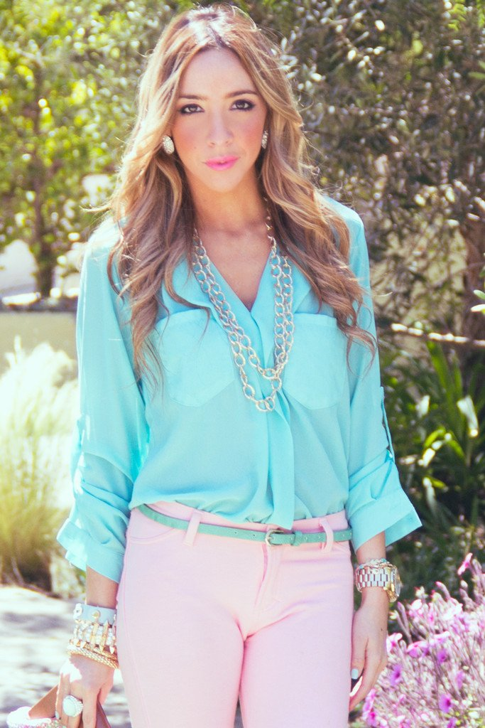 CHIFFON DRESS SHIRT - Electric Mint - Haute & Rebellious