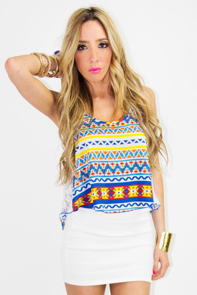 TRIBAL CROPPED TOP - Orange