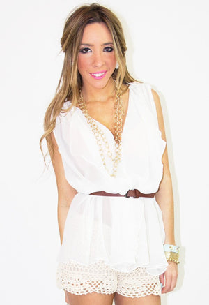 CHIFFON RUFFLE BLOUSE WITH BELT - White - Haute & Rebellious