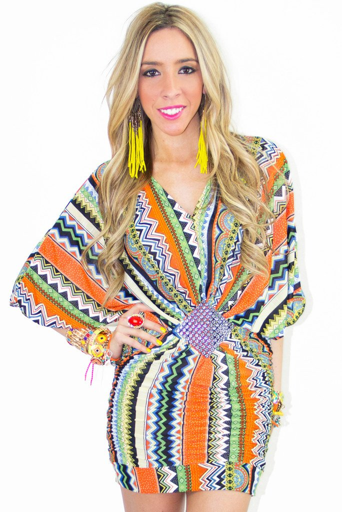 KAYLA TRIBAL PRINT DRESS