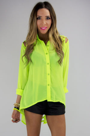 BRAID CUTOUT WITH GOLD STUDS BLOUSE - Neon Yellow - Haute & Rebellious
