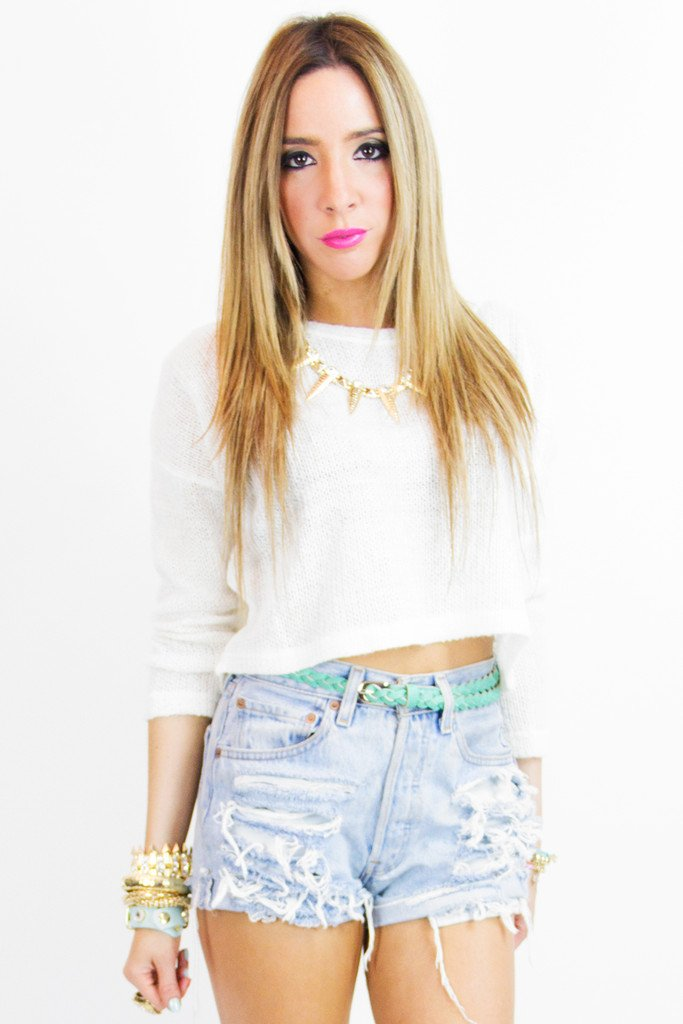 MINI CROP SWEATER - White - Haute & Rebellious