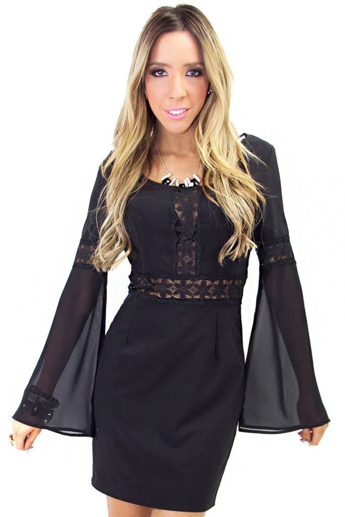 NAOMI LACE BELL SLEEVE DRESS - Black