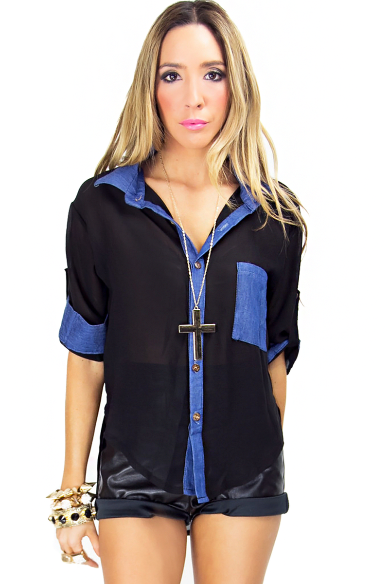 DENIM CONTRAST CHIFFON BLOUSE - Haute & Rebellious