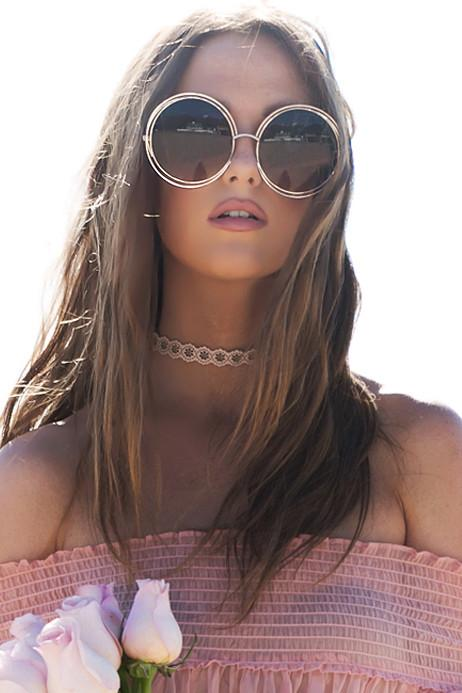 Disco Babe Round Shades - Gold/Mist