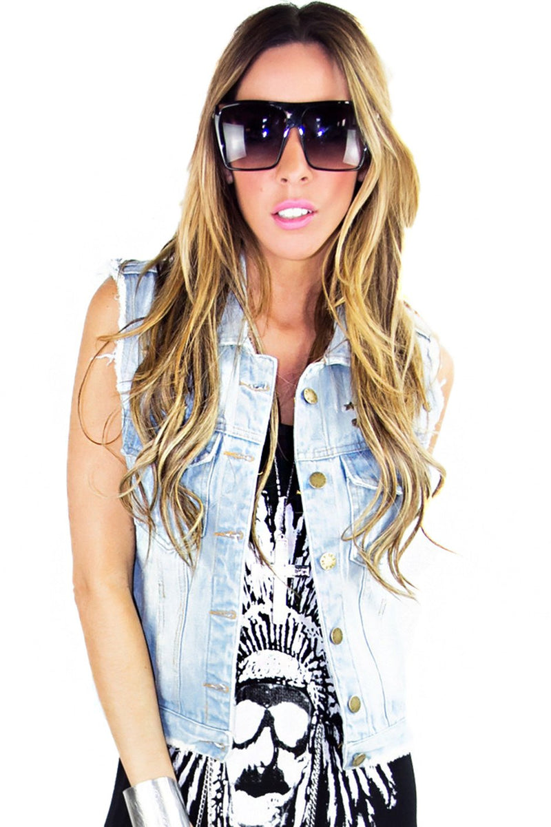 DENIM VEST WITH STUDS - Haute & Rebellious