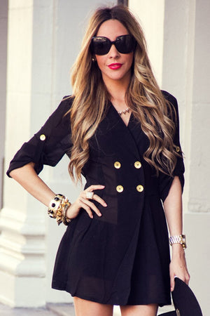 GOLD BUTTON CHIFFON DRESS - Black - Haute & Rebellious