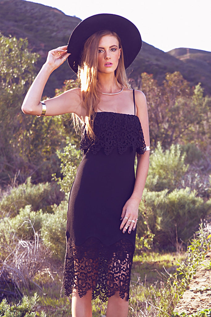 Becka Contrast Lace Tube Dress