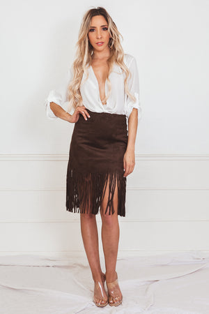 Suede Mini Skirt with Fringe - Brown
