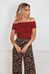 Off-Shoulder Smocked Top - Rust