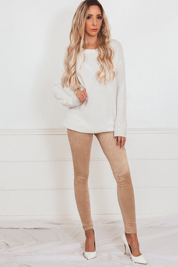 Suede Leggings - Nude