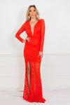 Long Sleeve Lace Maxi Dress - Red