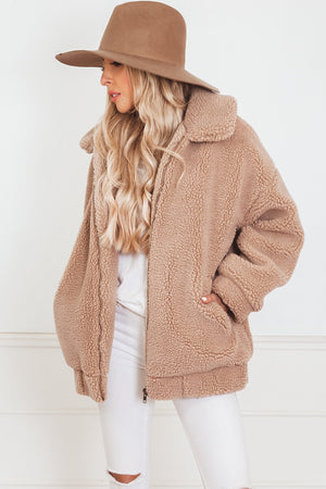 Faux Fur Teddy Coat - Beige