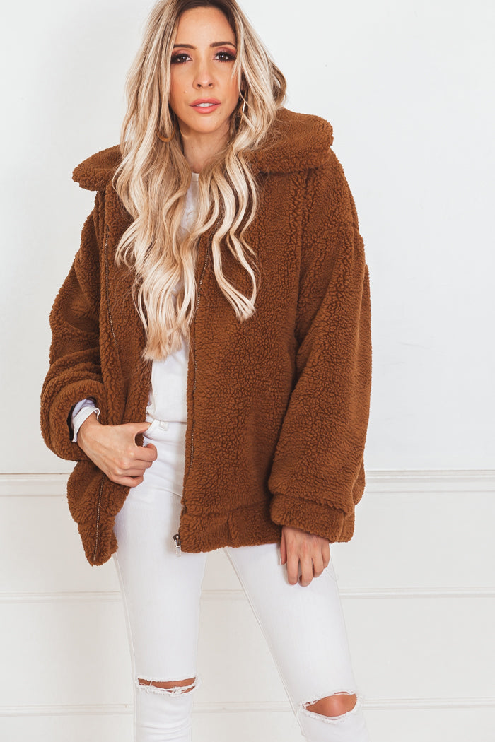 Faux Fur Teddy Coat - Brown