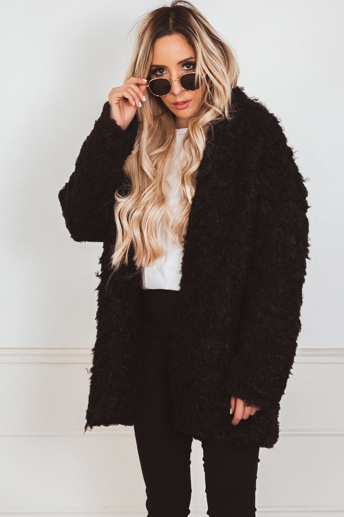 Teddy Bear Fur Coat - Black