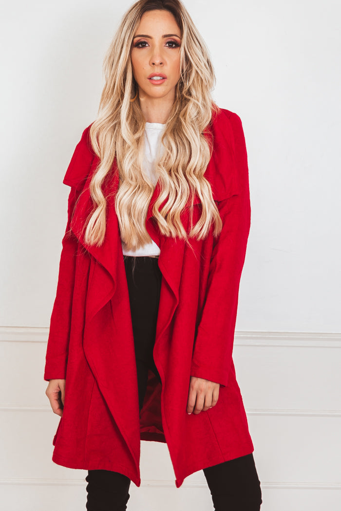 Draped Collar Coat - Red