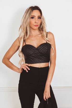 Quilted Leather Crop Top - Black