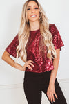 Sequin Top - Maroon