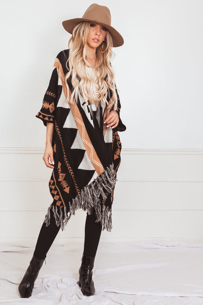 Tribal Cardigan Sweater with Fringe