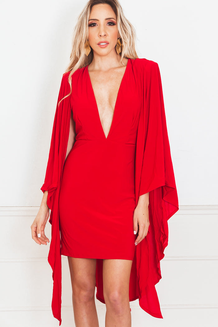 Deep-V Cape Dress - Red
