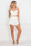 Quilted Leather Crop Top - White