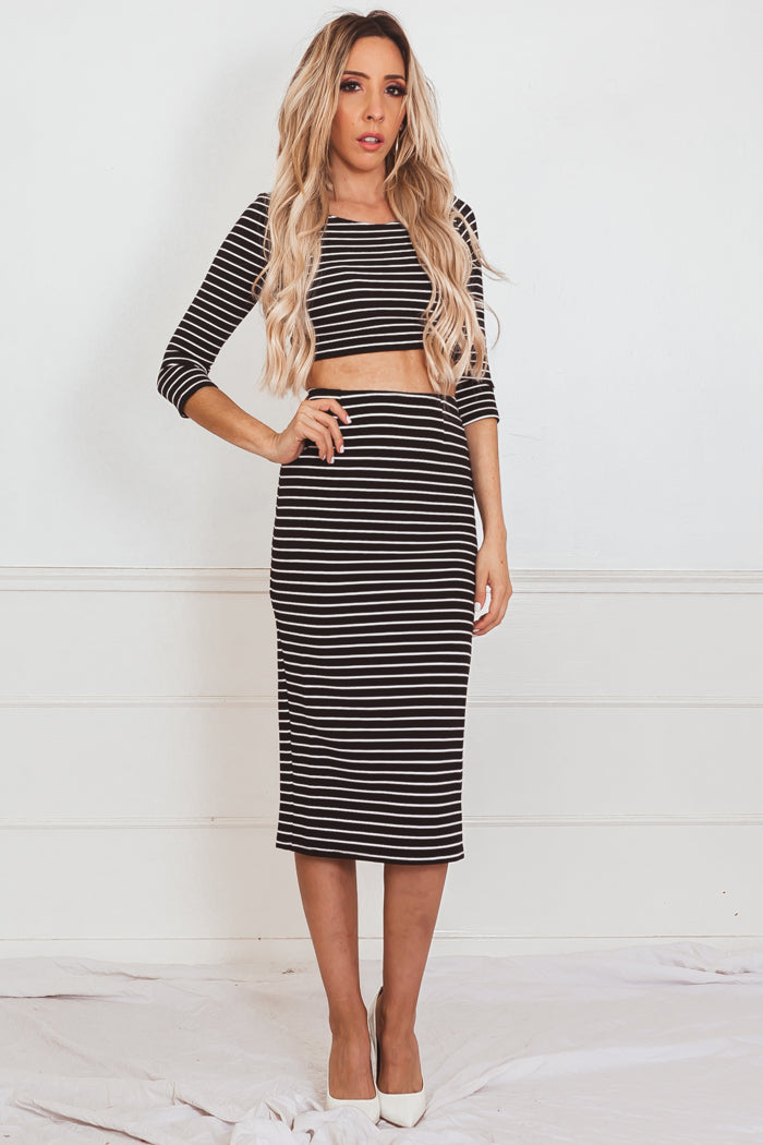 Striped Jersey Pencil Skirt