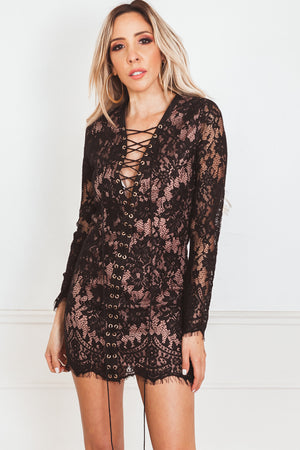 Lace Mini Dress with Lace-Up Front