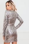Deep-V Wrap Sequin Dress - Silver /// Only 1-M Left ///