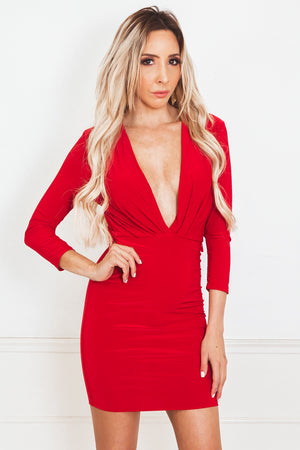 Plunging Neckline Bodycon Dress - Red