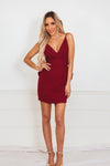 Mini Dress with Ruffle Detailing Open Back - Wine