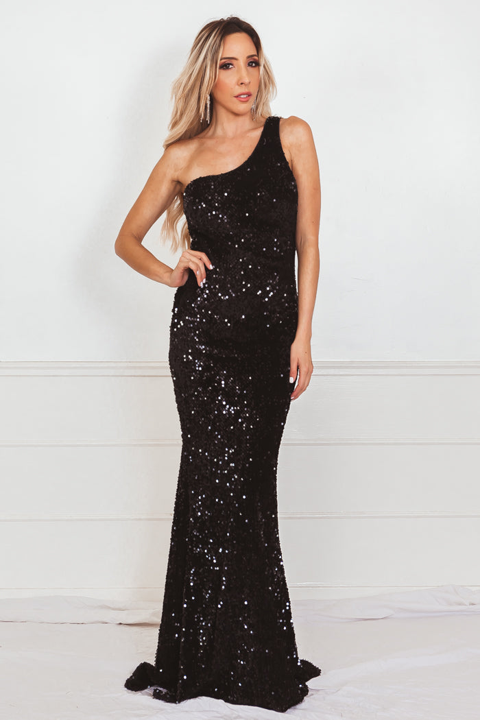 One-Shoulder Sequin Long Gown